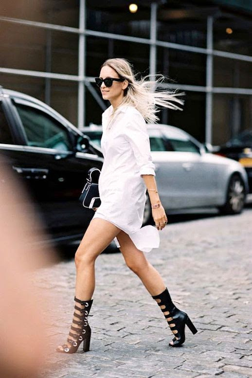 Le Fashion Blog Blogger Street Style Nyfw Sunglasses White Shirtdress Clutch Bag Black Leather Buckled Muti Strap High Heeled Sandals Via Vanessa Jackman