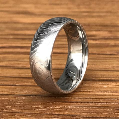 Tiger Stripe Damascus Steel Wedding Ring   Titanium Buzz