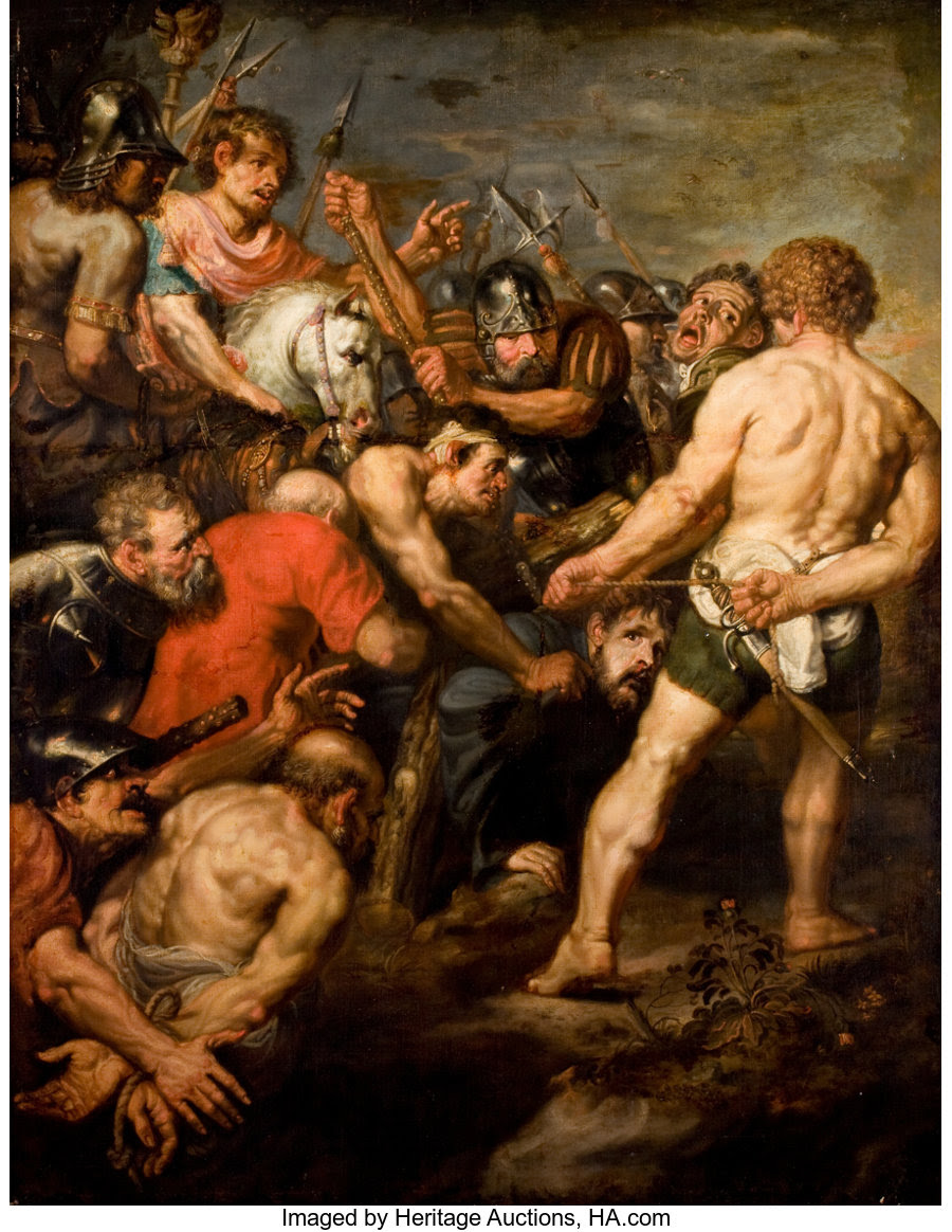 Fine Art - Painting, European:Antique  (Pre 1900), School of ANTHONY VAN DYCK (British, 1599-1641). The Road toCalvary, 17th century. Oil on canvas. 76-1/2 x 59 inches (1... Image #1
