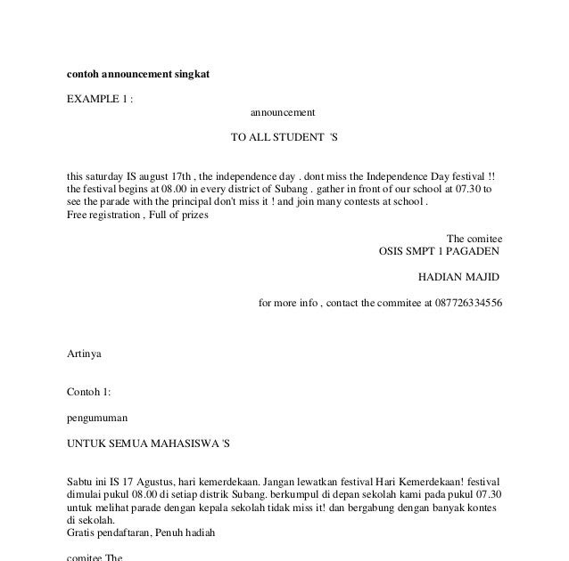 Contoh Soal Announcement Bahasa Inggris Smp Kelas 9 Contoh Z