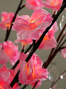 Lighted Pink Mini Rose Branch Electric - 60 Bulb
