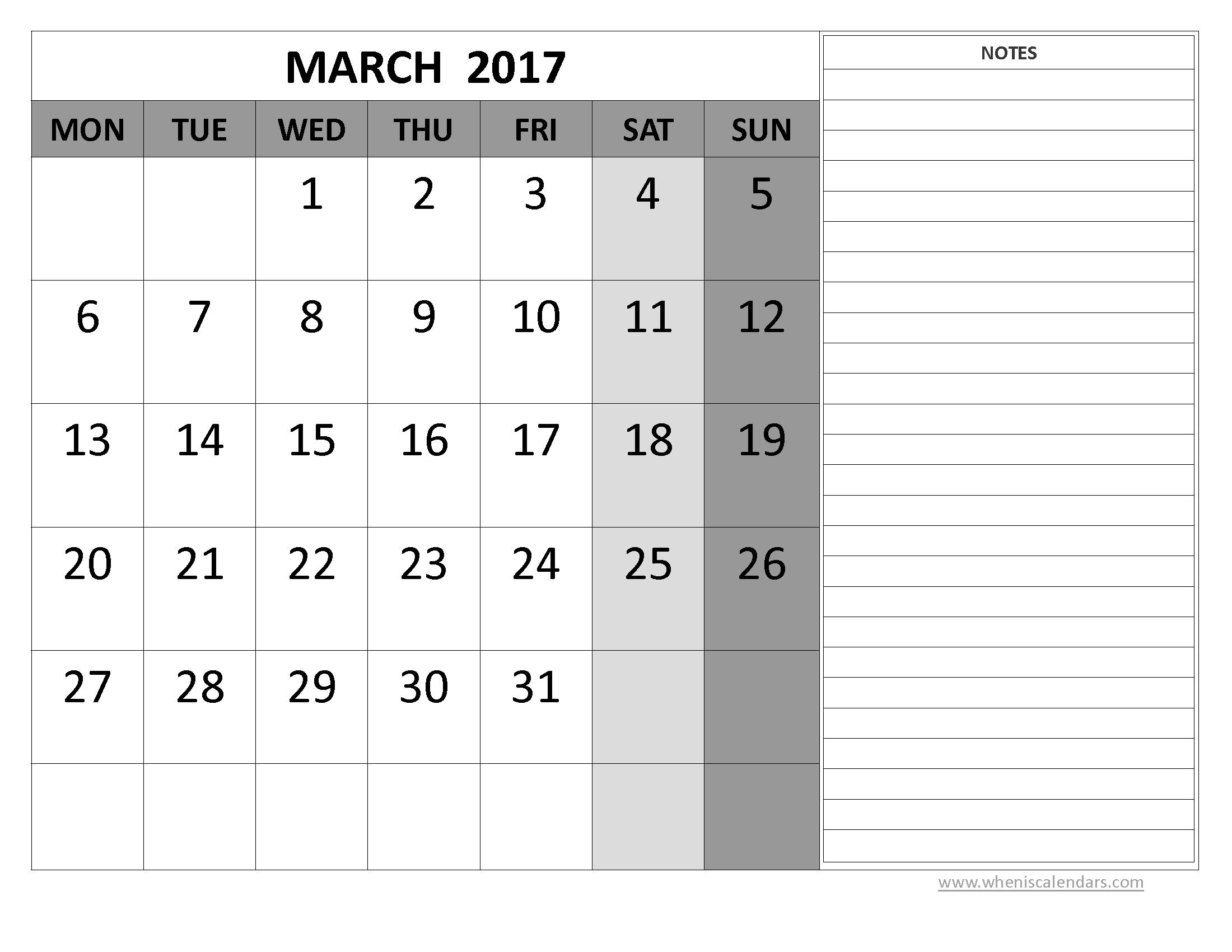 March Calendar 2017 Printable Pdf – 2017 March Calendar