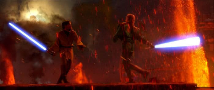 Lightsabers clash on Mustafar.