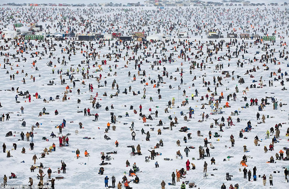 These impressive aerial shots show crowds of anglers sprawled across scarily thin ice at the largest ice fishing tournament in the world