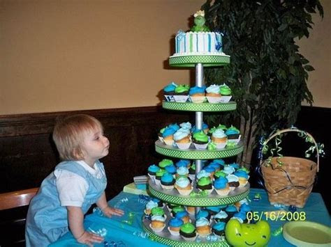 Prince Charming 1st bday cupcake tower & smash cake