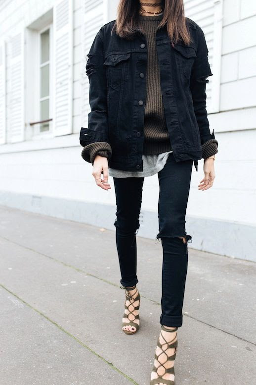 Le Fashion Blog Fall Blogger Style Choker Necklace Oversized Black Denim Jacket Brown Ribbed Sweater Grey Tee Shirt Skinny Jeans With Torn Knees Olive Green Lace Up Heels Via Alex's Closet