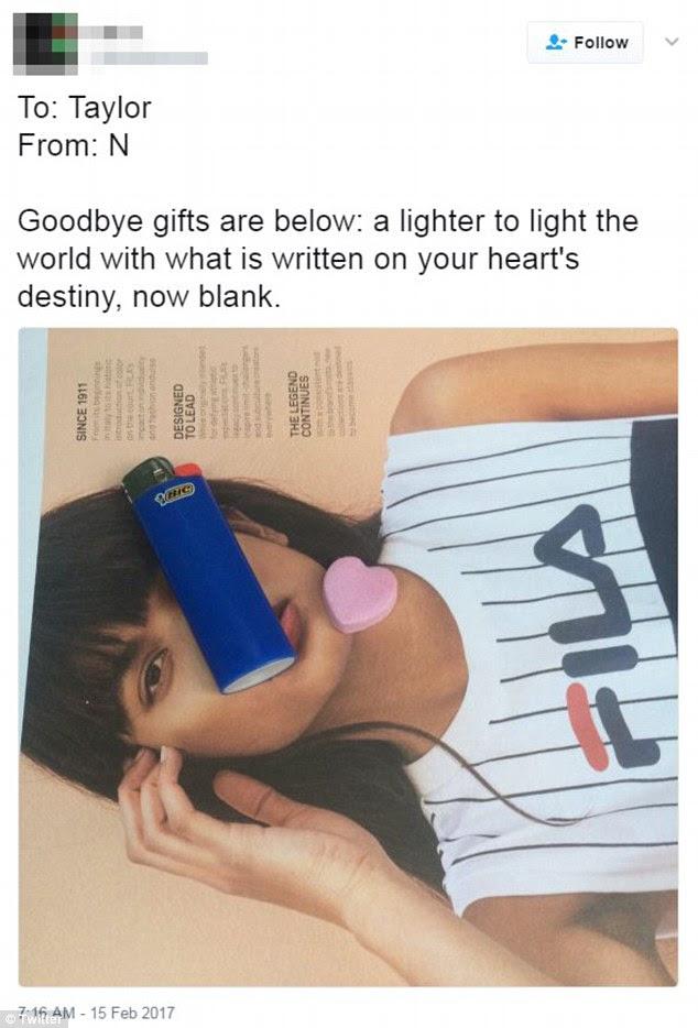 'Goodbye gifts': Naquele dia, 15, tinha visto uma enxurrada de atividade em seu Twitter, incluindo uma foto de um isqueiro e um coração de doces sobre o que parecia ser um anúncio Fila