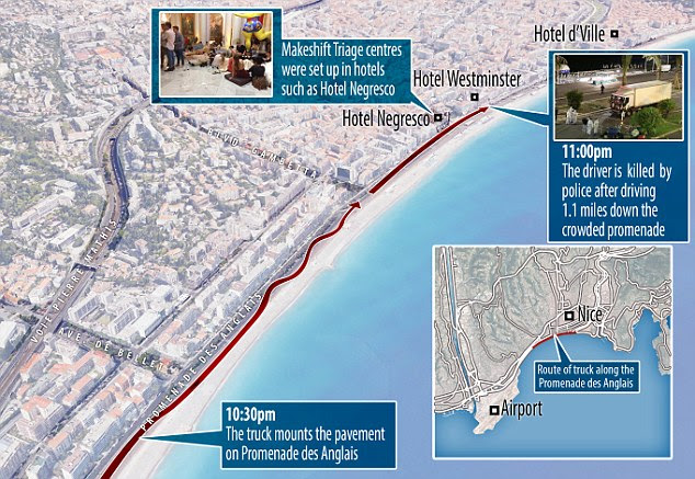 Bouhlel was eventually killed by police at 11pm after driving 1.1 miles down the crowded promenade in Nice
