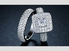 Double Princess Cut Cubic Zirconia Engagement Ring Set   Groupon