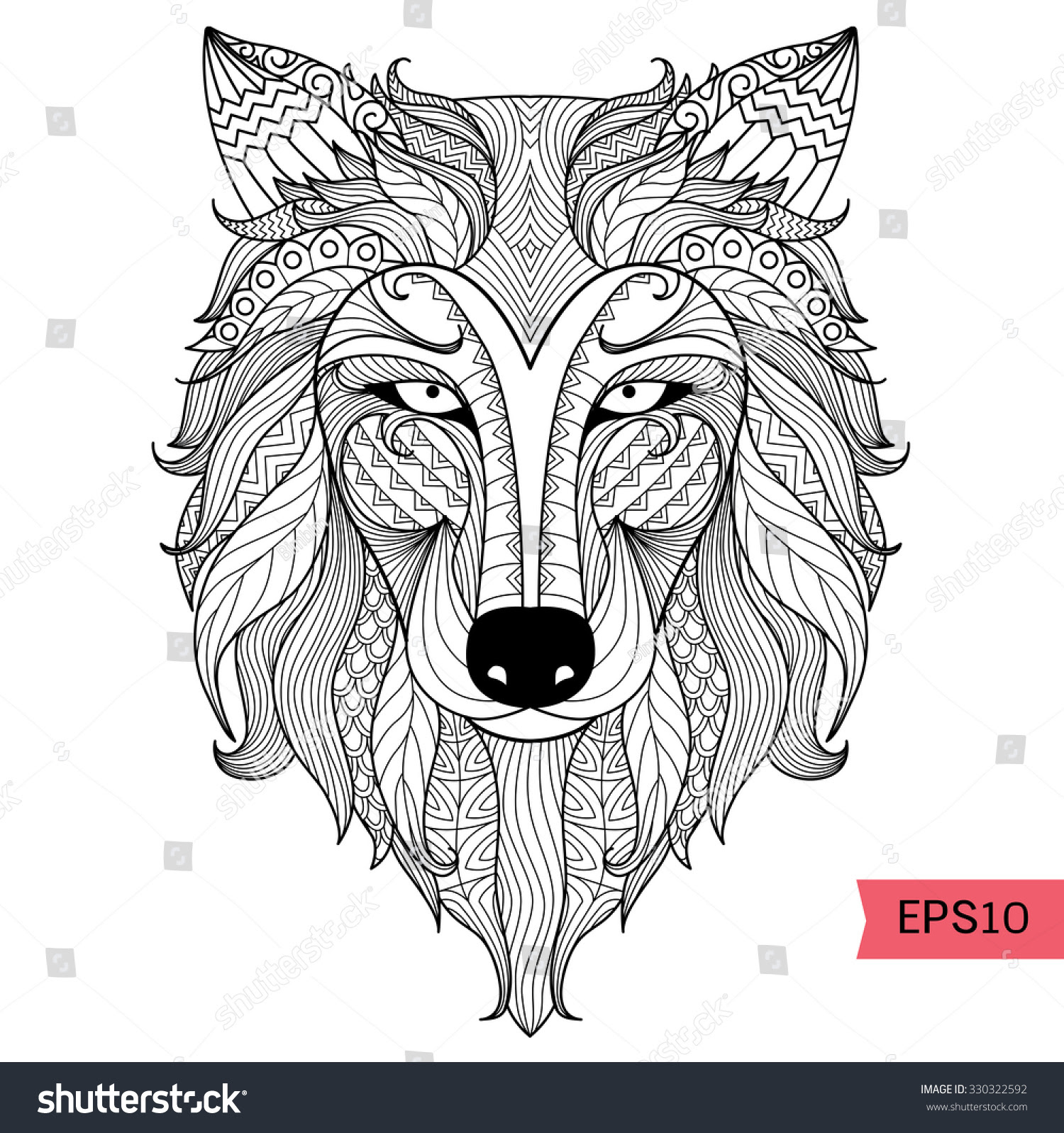 Detail Zentangle Wolf Coloring Pagetattoo T Stock Vector ...