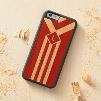 White Stripes and Chevrons on Red with Monogram Carved® Cherry iPhone 6 Bumper Case