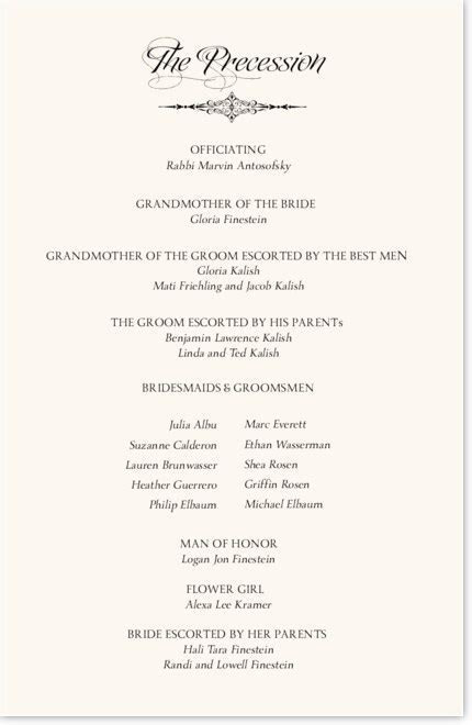 Jewish Wedding Programs and Jewish Program Wording