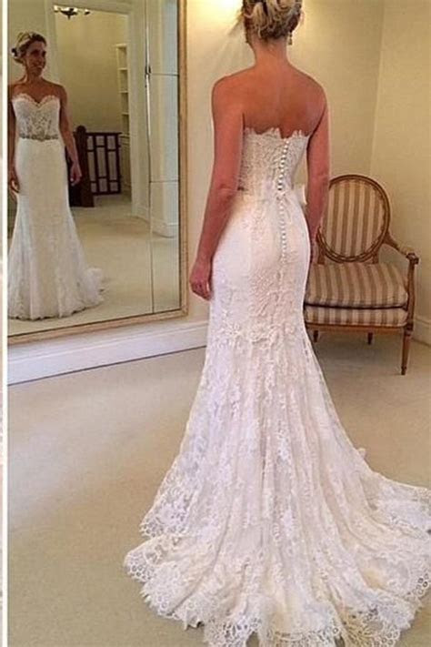 Sweetheart Lace Mermaid Wedding Dresses Bridal Gown With