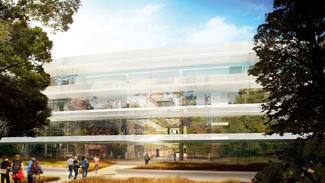 Outside the main building's glassy fascia. Source: City of Cupertino Source: Supplied
