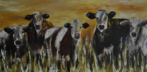 Cattle Painting western painting cowboy art by heartifactsgallery