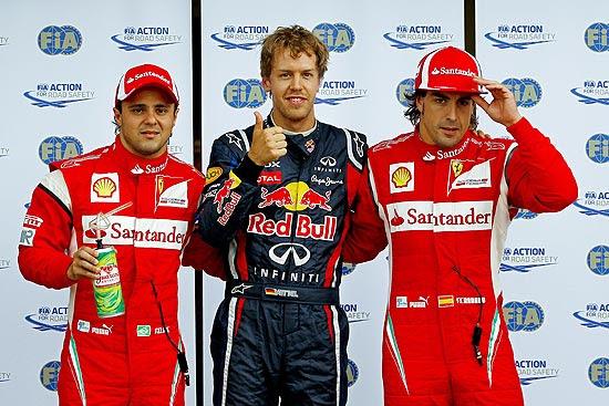 Felipe Massa, Sebastian Vettel e Fernando Alonso ao final do treino classificatório para o GP do Canadá