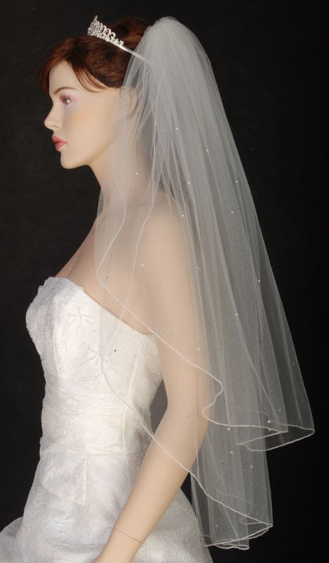 Diamond White Veil w/ Crystal Edge :  wedding Veil Side