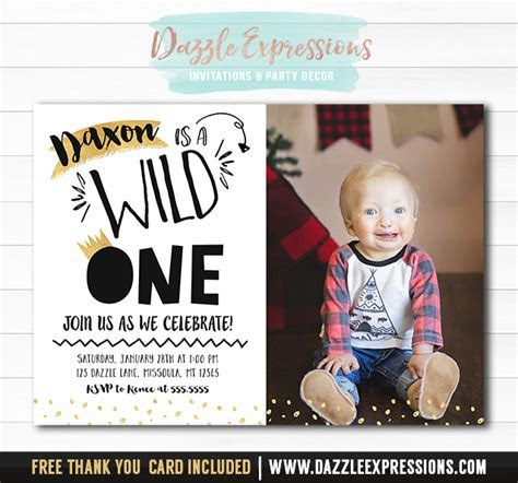 Printable Black and Gold Wild One 1st Birthday Invitation