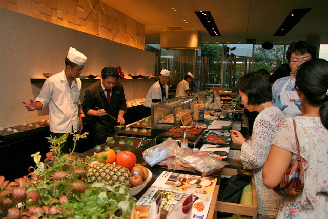 Chef Koezuka prepared a ten-course meal showcasing Tokachi produce at Kuriya Penthouse on 3 March 2012
