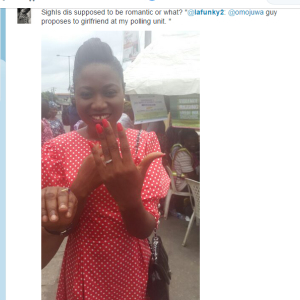 PHOTO: Man Proposes To His Girlfriend At Polling Unit #nigeriadecides2015