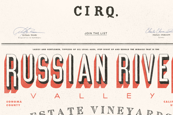CIRQ website interface design layout typography