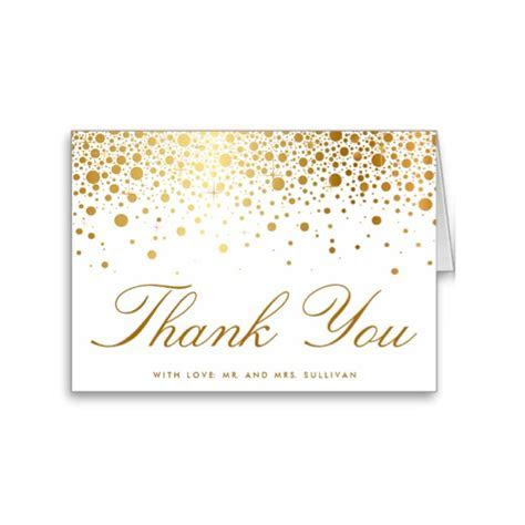 Faux Foil Confetti (Gold and White) Thank You Card