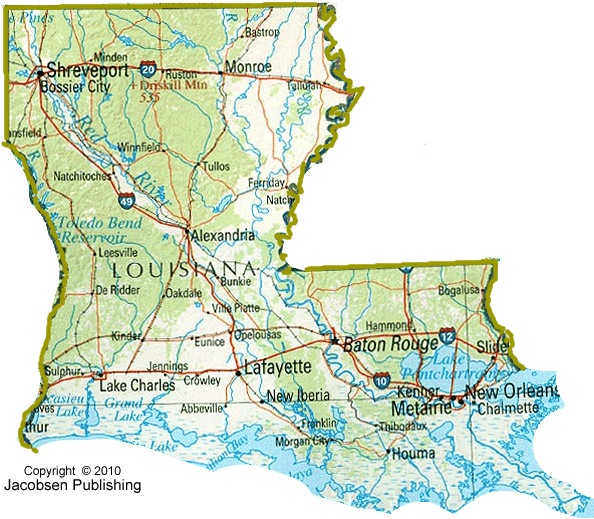 7 Best Images Of Printable Map Of State Louisiana