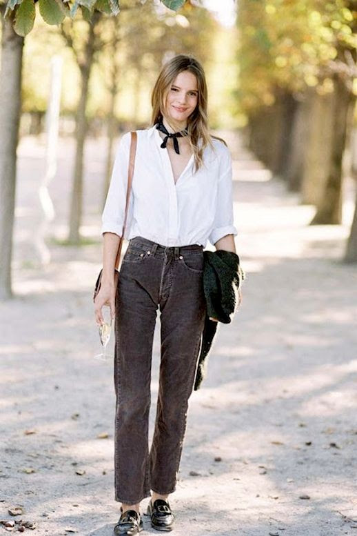 Le Fashion Blog Model Off Duty Street Style Tilda Lindstam Black Neck Scarf White Button Down Shirt Corduroy Pants Loafers Via Vanessa Jackman