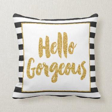 Hello Gorgeous Black & White Gold Glitter Stripes Throw Pillows