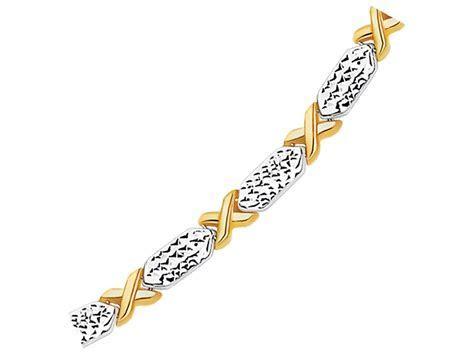 Fancy X Line Bracelet in 14k Two Tone Gold   Richard