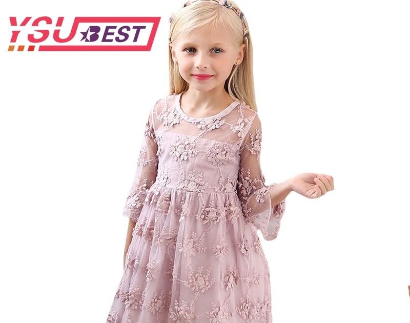 58534b093ecac2 Beste Kopen 2018 Zomer Meisje Kleding Kids Prinses Jurken Voor Meisjes Kant  Bloem Jurk 2 7Yrs Baby Feest En Bruiloft Goedkoop ~ saa12-lovesx33