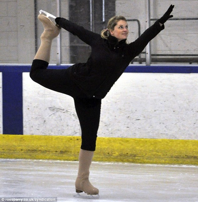Dancing on ice: Lisa Armitage, 30, was saved after a skating accident revealed she had a brain tumour the size of a tennis ball, doctors are now ensuring it doesn't grow or alter