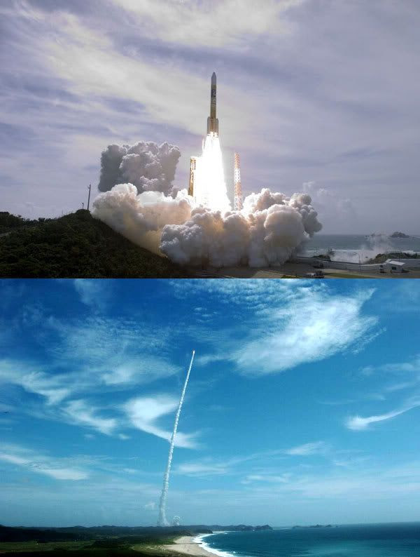 An H-IIA rocket carrying the Kaguya lunar orbiter lifts off from Tanegashima Space Center in Japan on September 13, 2007 (U.S. time).