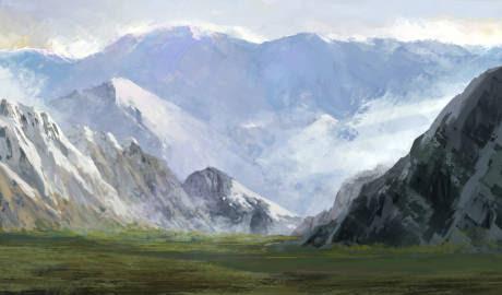 クリップペイントで描く雪山のある風景の描き方 モンスターイラストの
