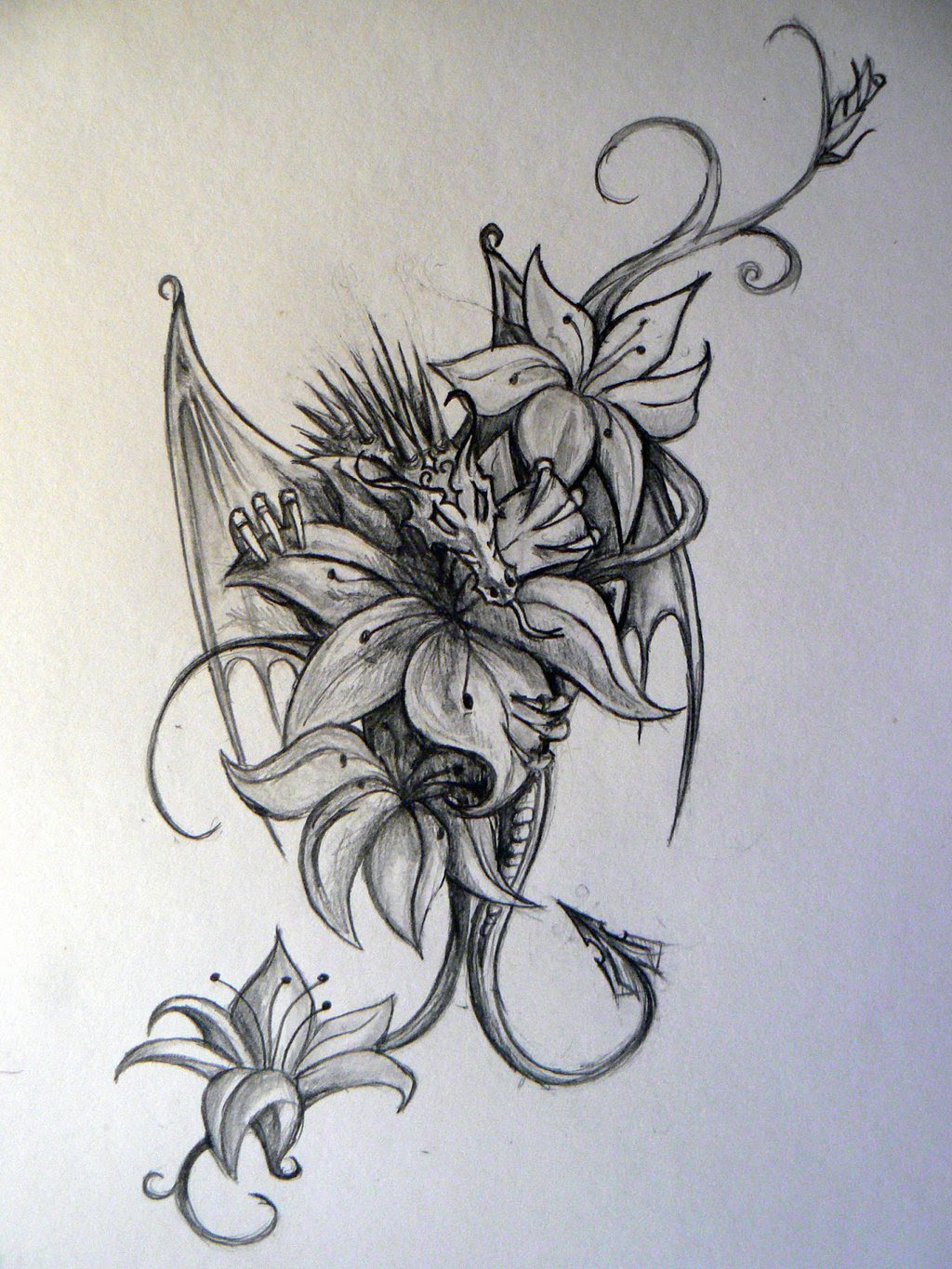 Dragon Tattoos With Flowers Tattoos Gallery