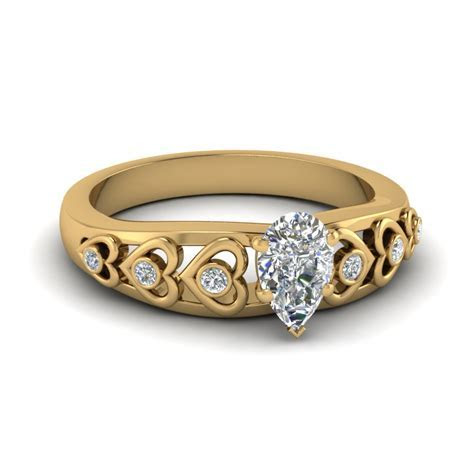 Heart Design Diamond Accent Engagement Ring In 14K Yellow