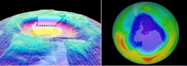 Simulaciones gráficas del agujero en la capa de ozono en la región antártica