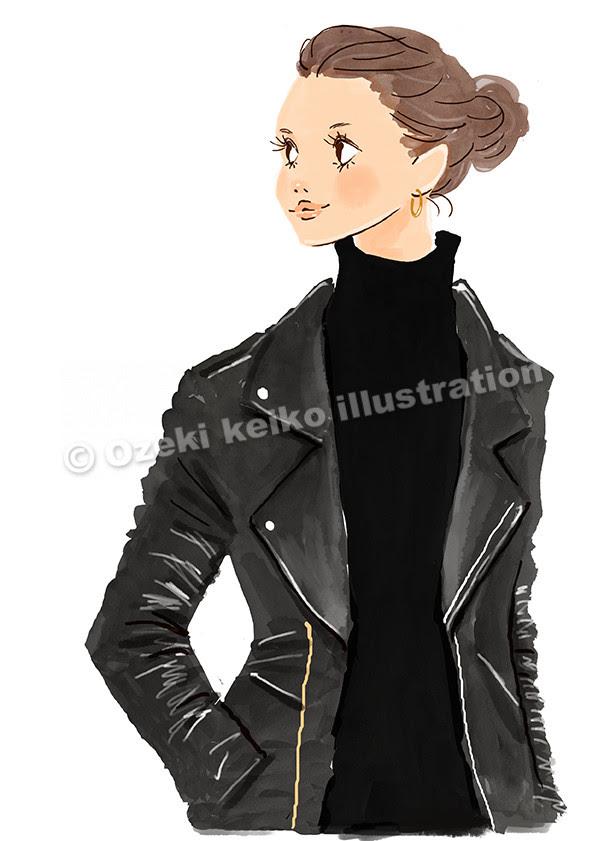 ライダースジャケットを着た女性イラスト イラストレーター小関恵子の