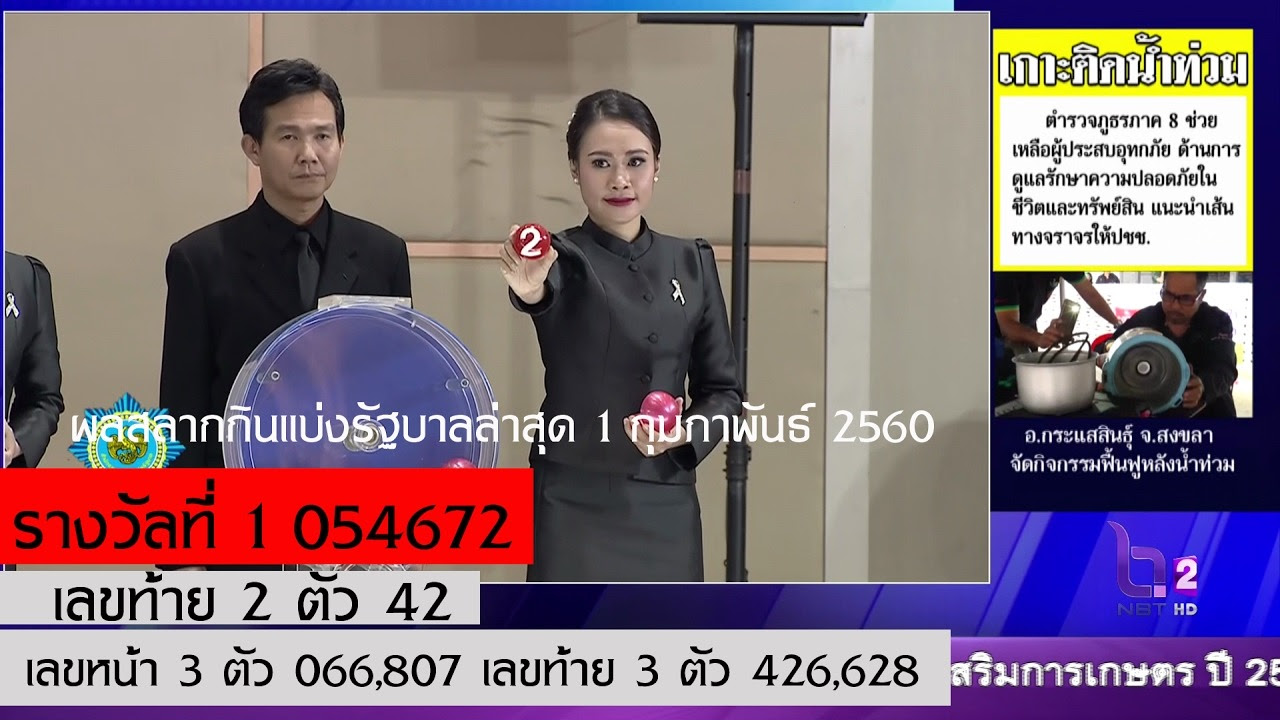 ผลสลากกินแบ่งรัฐบาลล่าสุด 1 กุมภาพันธ์ 2560 ตรวจหวยย้อนหลัง 1 February 2016 Lotterythai HD http://dlvr.it/NGB7J2