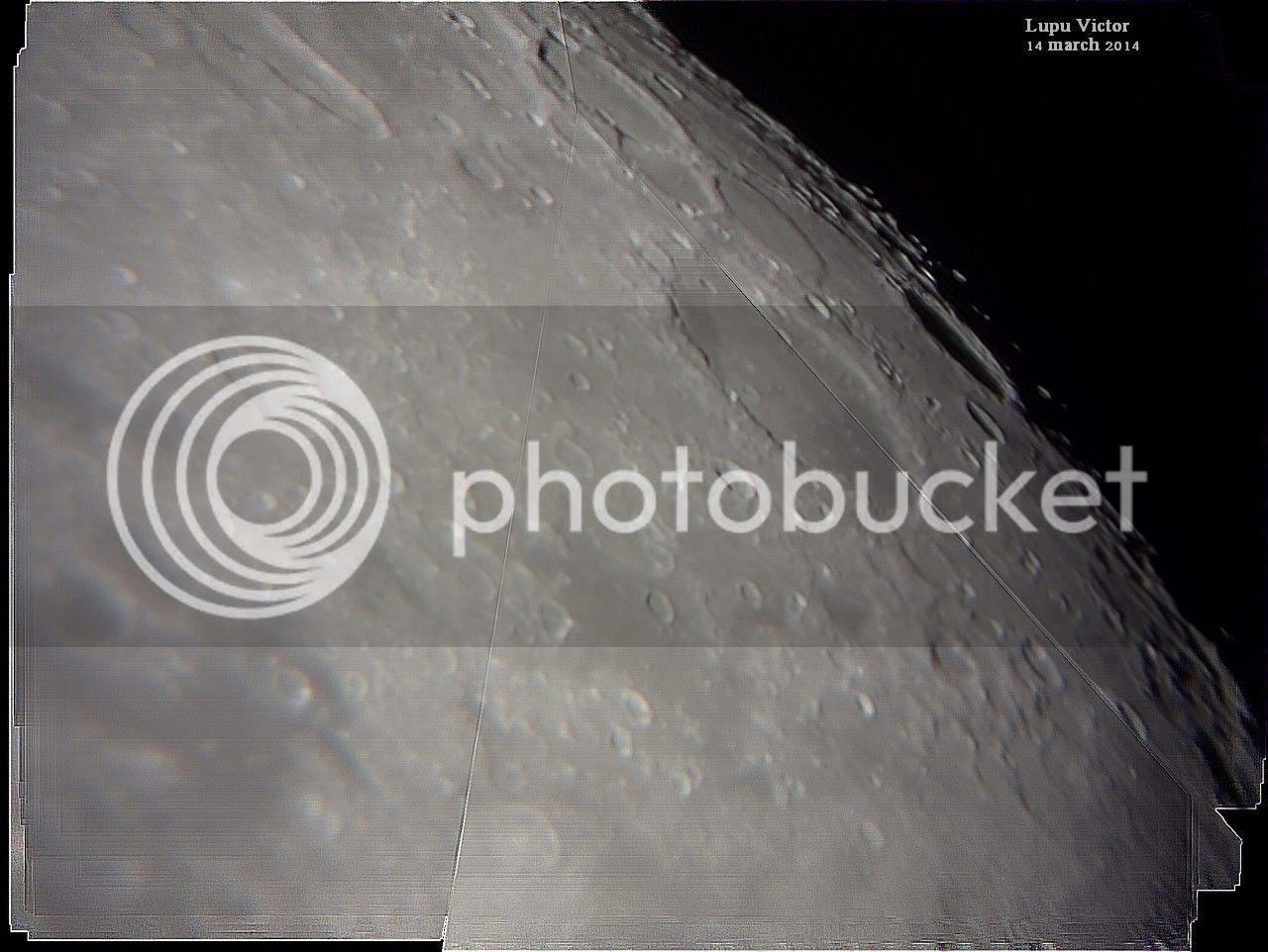 .Regiunea Vest a Lunii. Imagini Registax. Craterul Schickard de pe Lună prin telescop astronomic