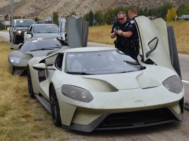 Ford GT Prototype pulled over in Colorado