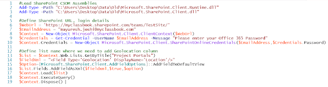 PowerShell to Add Geolocation column in SharePoint