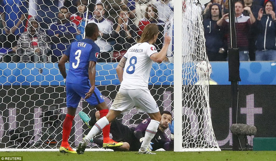 With six minutes remaining on Sunday evening, midfielder Birkir Bjarnason grabbed Iceland's second goal at the Stade de France