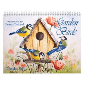 Garden Birds watercolor 2014 calendar