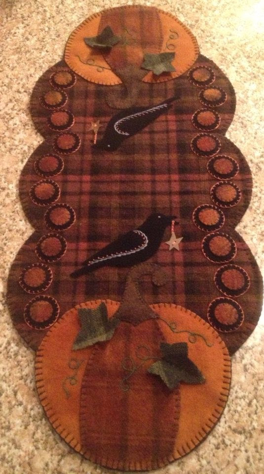 Primitive Wool Penny Rug  Fall Table Runner pumpkins and crows on Etsy, $85.00