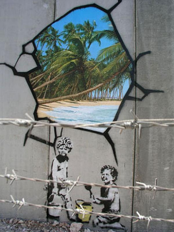 Banksy Children on the Beach Palestinian Wall Picture