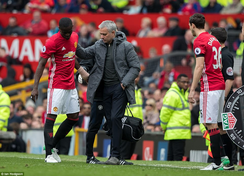 Meaning Mourinho had to make another substitution at the back as Italian Matteo Darmian came on for the defender