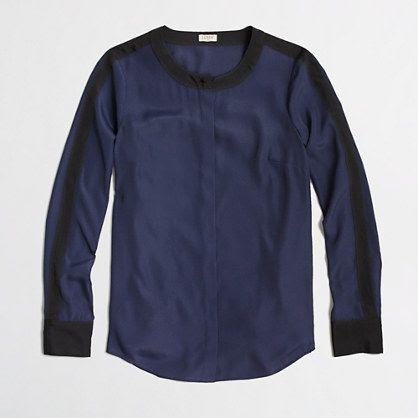 Factory contrast-trim blouse