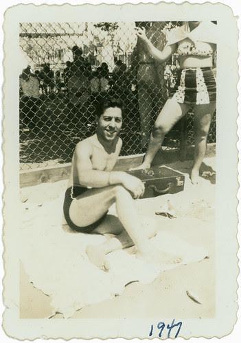 Guy on beach 1947