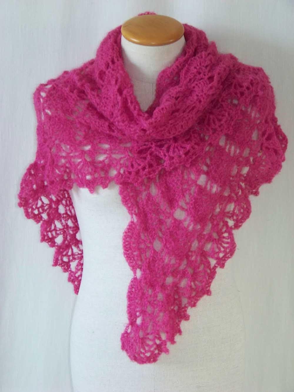 Hot Pink crochet mohair shawl